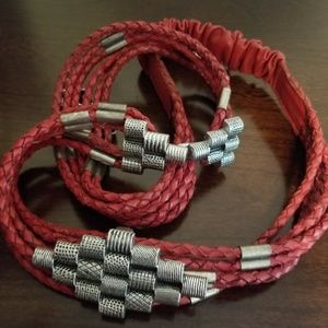 Chicos vintage red braided and silvertone belt